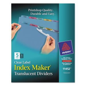 Avery Index Maker Clear Label Punched Dividers, Multicolor 5-Tab (AVE11452)