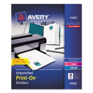 Avery Dividers, 8-Tab, Unpunched, 8-1/2 x 11, White, 5 Sets per Pack (AVE11553)