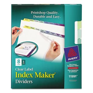 Avery Index Maker Clear Label Color Dividers, 8-Tab, 5 Sets per Pack (AVE11991)