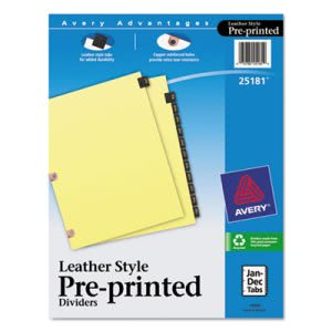 Avery Black Leather Tab Dividers, Jan-Dec, Letter, 12 Dividers (AVE25181)