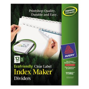 Avery Recycled Index Maker Dividers, 12-Tab, 11 x 8-1/2, 5 Sets/Pack (AVE11582)