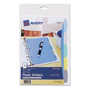 Avery Translucent Multicolor Write-On Dividers, 5-Tab, 1 Set (AVE16180)