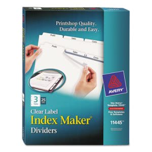 Avery Index Maker Clear Label Dividers, 3-Tab, Letter, White, 25 Sets (AVE11445)