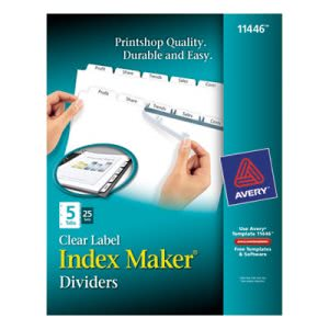 Avery Index Maker Clear Label Dividers, 5-Tab, Letter, White, 25 Sets (AVE11446)