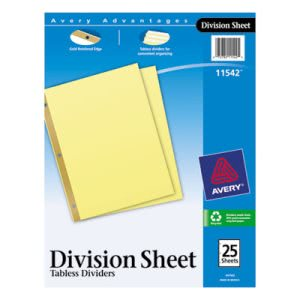 Avery Untabbed Sheet Dividers, Letter, Buff, 25/Pack (AVE11542)
