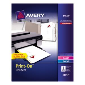 Avery Print-On 5-Tab Dividers, 3-Hole Punched,  25 Sets per Pack (AVE11517)