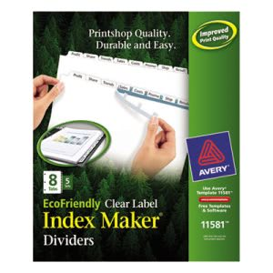 Avery 100% Recycled Index Maker Dividers, White 8-Tab, 5 Sets/Pack (AVE11581)