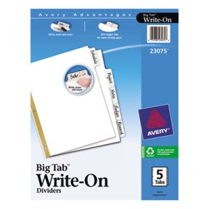 Avery Big Tab Write-On Dividers w/Erasable Laminated Tabs, 5/Set (AVE23075)