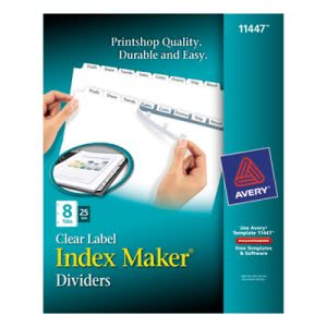 Avery Index Maker Clear Label Dividers, 8-Tab, Letter, White, 25 Sets (AVE11447)
