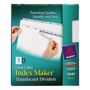 Index Maker Clear Label Punched Dividers, 5-Tab, Letter, 5 Sets/Pack (AVE12449)