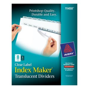 Avery Index Maker Clear Label Punched Dividers, 8-Tab, Letter (AVE11450)
