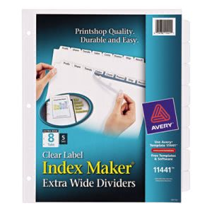 Avery Index Maker Clear Label Dividers, 8-Tab, 11 1/4 x 9 1/4, 5 Sets (AVE11441)