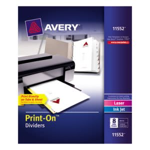 Avery Print-On Dividers, 8-Tab, 3-Hole Punched, White, 5 Sets (AVE11552)
