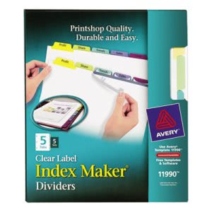 Avery Index Maker Label Color Dividers, 5-Tab, 5 Sets per Pack (AVE11990)
