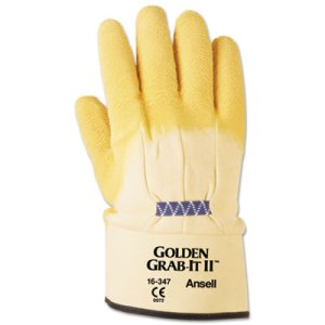 Ansell Grab It Heavy Duty Work Gloves, Yellow, XL, 12 Pairs (ANS1634710)