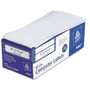 Avery Dot Matrix Printer Address Labels, 1 Across,White, 5000 per Box (AVE4065)