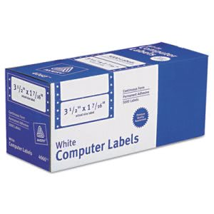 Avery Matrix Printer Address Labels, 1 Across, White, 5000 per Box (AVE4060)