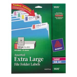 Avery Extra-Large 1/3-Cut Filing Labels, White/Assorted Bars, 450/Pack (AVE5026)