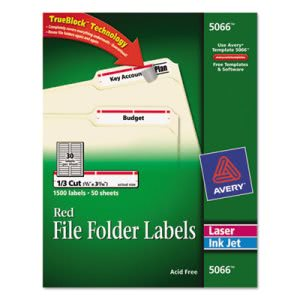Avery Self-Adhesive File Folder Labels, White, Red Border, 1500/Box (AVE5066)