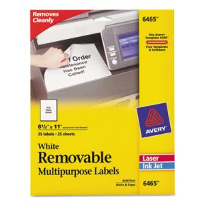 Avery Removable Inkjet/Laser ID Labels, 8-1/2 x 11, White, 25/Pack (AVE6465)