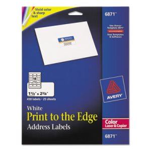 Avery Address Labels for Color Laser & Copier, Matte White, 450/Pack (AVE6871)