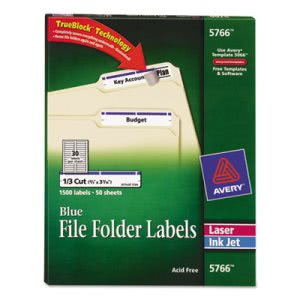 Avery Self-Adhesive File Folder Labels, Blue Border, 1500 per Box (AVE5766)