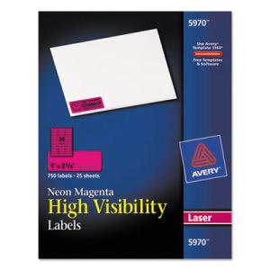 Avery High-Visibility Laser Labels, 1 x 2-5/8, Neon Magenta, 750/Pack (AVE5970)