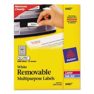Avery Removable Inkjet/Laser ID Labels, 1/2 x 1-3/4, White, 2000/Pack (AVE6467)