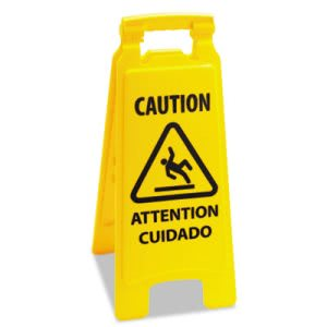 Boardwalk Caution Sign For Wet Floors, 2-Sided, Plastic, Yellow (BWK26FLOORSIGN)
