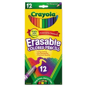Crayola Erasable Colored Woodcase Pencils, 12 Assorted Colors/Set (CYO684412)