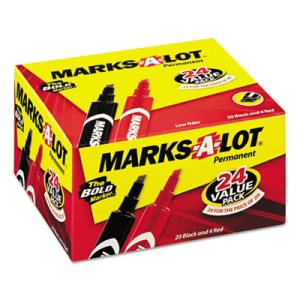 Marks-a-lot Permanent Chisel Tip Markers, Red/Black, 24 per Pack (AVE98187)