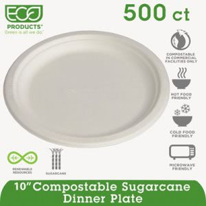 "Eco-products Compostable Dinnerware, 10"" Plate, Natural, 500 Plates (ECOEPP005)"