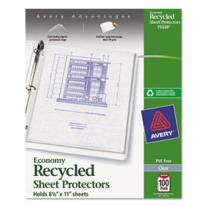 Avery Top-Load Recycled Polypropylene Sheet Protector, Clear, 100/Box (AVE75539)