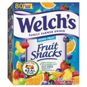 Welch's Fruit Snacks, 0.9-oz. Pouch, 80 Pouches/Box (WEL884640)