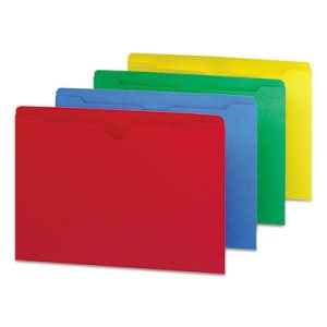 Smead File Jackets with 2-Ply Tab, Blue/Green/Red/Yellow, 100 per Box (SMD75613)