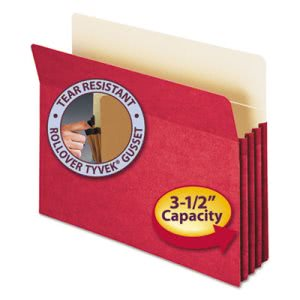 "Smead 3 1/2"" Expanding File Folder, Straight Tab, Letter, Red (SMD73231)"