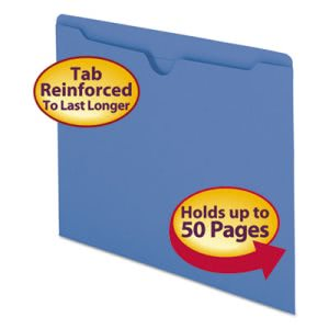 Smead File Jackets, 2-Ply Tab, Letter, 11 Point Stock, Blue, 100/Box (SMD75502)