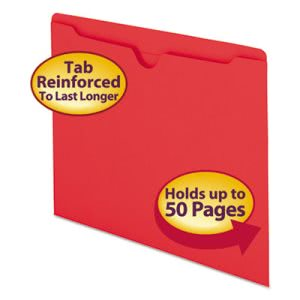 Smead File Jackets, Two-Ply Tab, Letter, 11 Point Stock, Red, 100/Box (SMD75509)