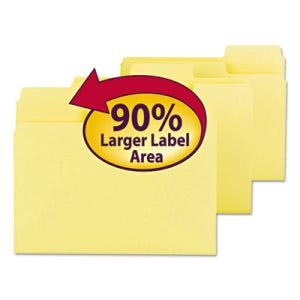 Smead SuperTab Colored File Folders, 1/3 Cut, Letter, Yellow, 100/Box (SMD11984)