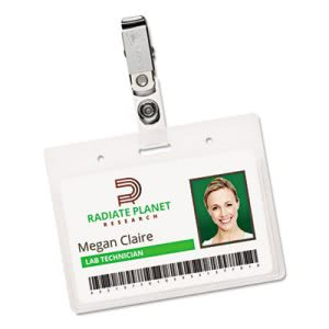 Avery Photo ID Badge Holder, Horizontal, 2 1/4w x 3 1/2h, Clear, 50/BX (AVE2921)