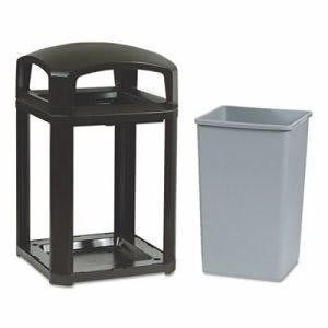 Rubbermaid 3970 Landmark Series 35 Gallon Dome Top Container, Sable (RCP3970SAB)