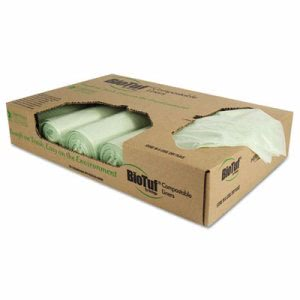 32 Gallon Compostable Garbage Bags, 34x48, 1 mil, 100 Bags (HERY6848YER01)