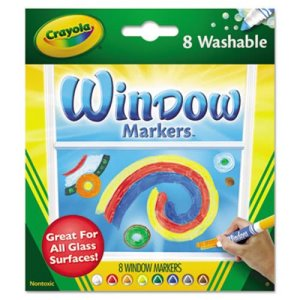 Crayola Washable Window FX Markers, Conical Tip, Assorted, 8 per Set (CYO588165)