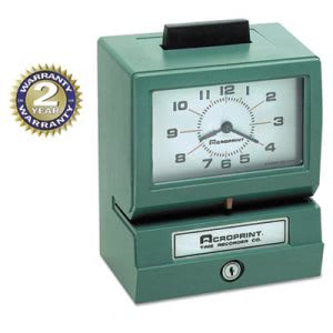 Acroprint Analog Manual Print Time Clock with Date (ACP01107040A)