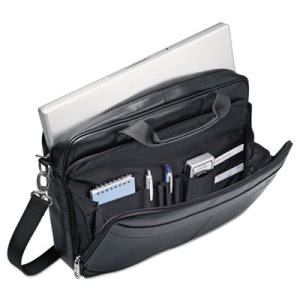 "Samsonite Leather Slim Brief, 15 3/4 x 2 1/2 x 11 3/4"", Black (SML480731041)"