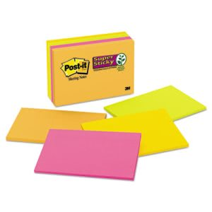 Post-it Super Sticky Large Format Notes, Electric Glow, 8 Pads (MMM6445SSP)