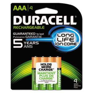 Duracell Rechargeable NiMH Batteries with Duralock Power Preserve Tech, AAA, 4/Pack (DURNLAAA4BCD)