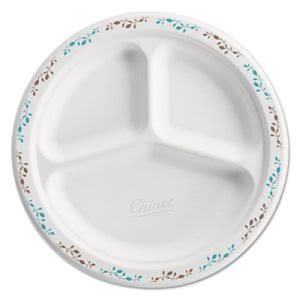 "Chinet White 9.25"" Plate, Burgundy/Gray Design, 3-Comp, 500 Plates (HUH22517)"