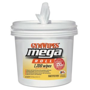 2XL Mega Roll Gym Wipes, 8 x 8, White, 1200 Wipes/Bucket, 2 Buckets (TXLL419)