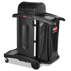 Rubbermaid 1861427 High Security Janitorial Cleaning Cart, Black (RCP1861427)